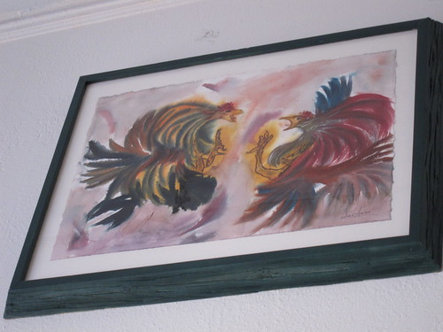 cock fighting watercolor