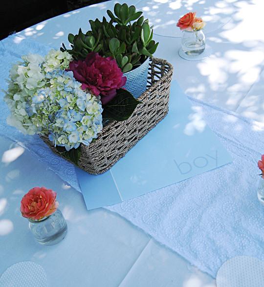 hydrangeas+succulents+roses+its a boy+baby shower decor ideas -4