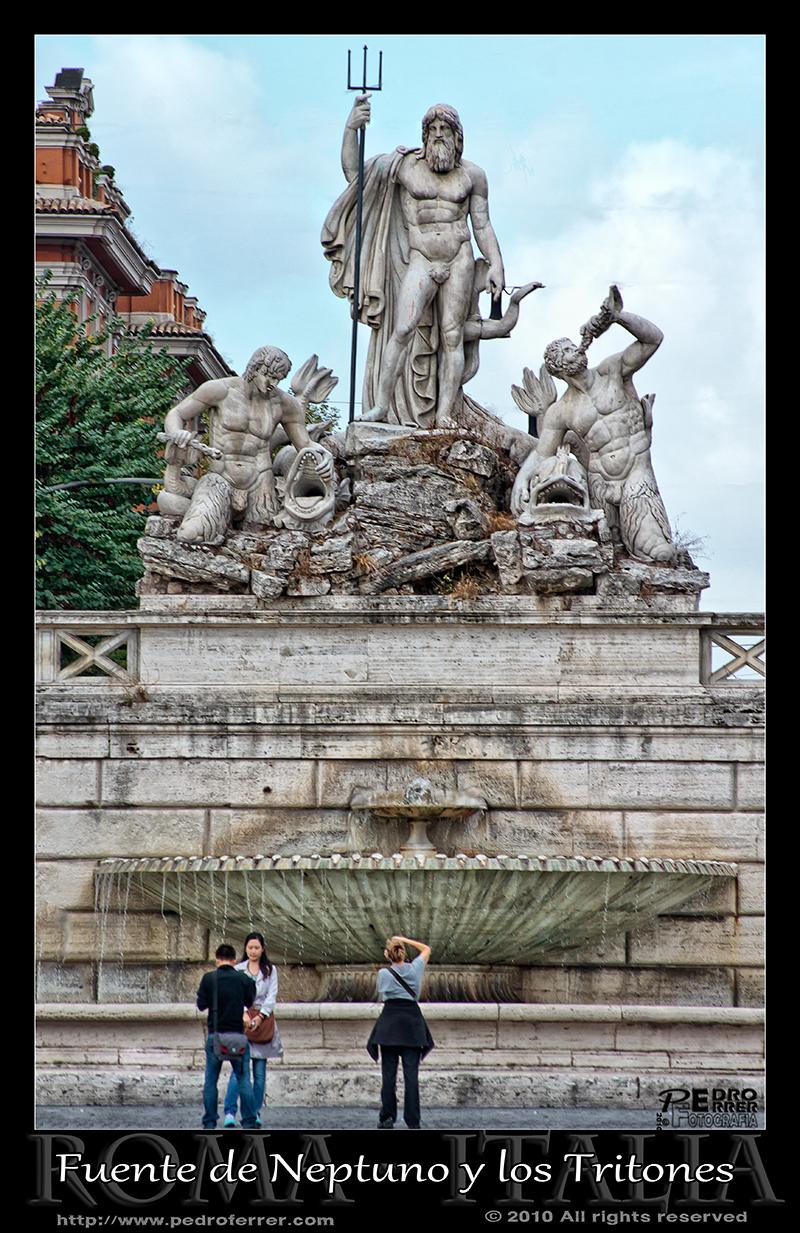 Roma - Piazza del Popolo - Fuente Neptuno y Tritones