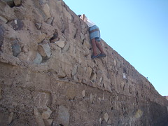 (boscoboscobosco) Tags: sky sun stone wall fence walking outside football kid soccer muslim watching morroco climbing marrakech marrakesh ramadam