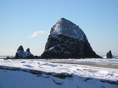 Jan. 07 snowy rock and beach