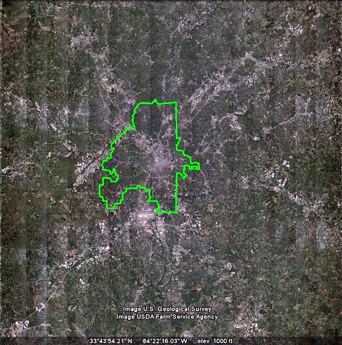 the jurisdictional city of Atlanta drawn on the functional city of Atlanta (via Google Earth, boundary by me)