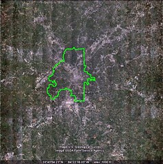 city limits of Atlanta (via Google Earth, boundary drawn by me)