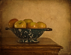 Colander With Apples (SLEEC Photos/Suzanne) Tags: stilllife antique apples colander textured icebox tatot skeletalmesstextures