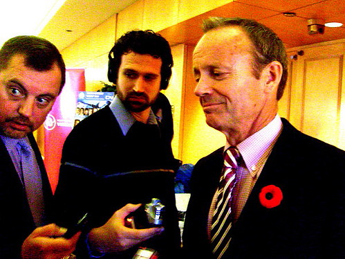 Canadian federal trade minister Stockwell Day spoke to reporters after a speech at the Vancouver Board of Trade on October 29, 2010 in the Pacific Gateway Forum 2010: Greater Heights, Expanding Horizons