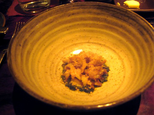 Coi, San Francisco - Monterey Bay Abalone Grilled on the Plancha, Nettle-Dandelion Salsa Verde, Spicy Breadcrumbs, Wild Fennel Flowers