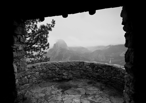 Half Dome from Geology Hut, Glacier Point (B&W)