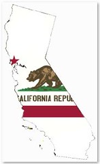 California map with flag