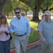 Faculty walking toward new library for tour