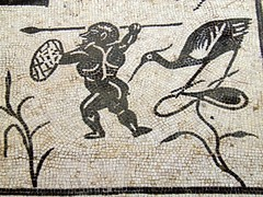Detail of the Neptune mosaic with pygmies battling the flying cranes, House of Neptune, Italica (Following Hadrian) Tags: cornelius hadrian trajan scipio italica santiponce hispania baetica publius