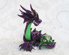 Purple Dice Dragon (DragonsAndBeasties) Tags: sculpture dice black cute green statue miniature wings dragon purple ooak magic small mini polymerclay fimo fairy fantasy gift handpainted sculpey lime etsy custom figurine commission snarl protect glassbeads premo 20sided