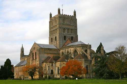 Outside Tewkesbury Abbey