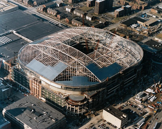 Construction on the Trans World Dome in 1995. Photo by Groupe Canam.