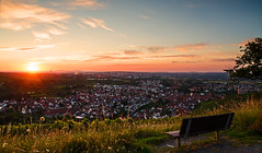 Sit, look, enjoy... Part II (DrQ_Emilian) Tags: sunset sun sunlight light color sky clouds landscape view town outdoors travel hill nature bench stetten remstal kernen germany europe badenwürtemberg relaxation