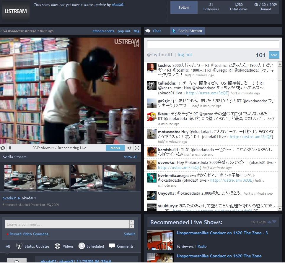 DJing @okadadada over 2000viewers on Ustream