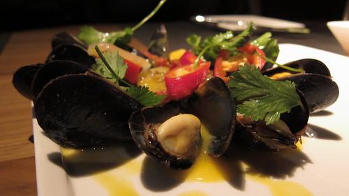 Choros al vapor - mussels, chorizo, aji amarillo-pisco broth