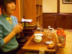 Nice lady serving us tea