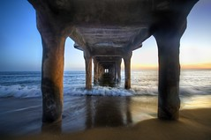 Sunset Under the Pier (Stuck in Customs) Tags: world ocean california city travel sunset usa west color beach colors digital america point photography coast la pier blog los high sand nikon pretty waves dynamic angle stuck pacific angeles dusk manhattan united north under perspective scenic problem shore imaging lonely states manhattanbeach vanishing range hdr trey beacy travelblog customs ratcliff d2xs stuckincustoms