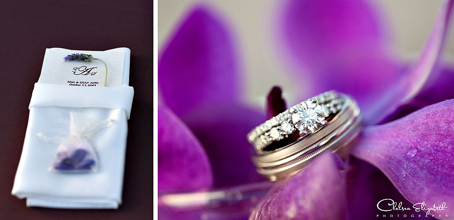 purple lavendar orchid wedding details and rings shot