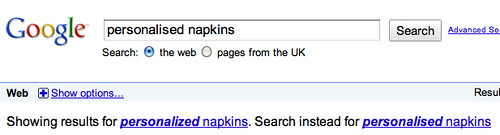 Google UK Spelling Suggestions