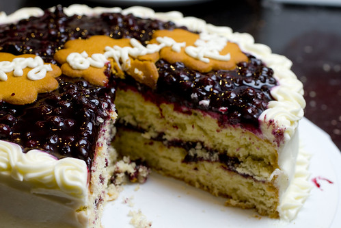 Coconut Blueberry Cream cake cut 2
