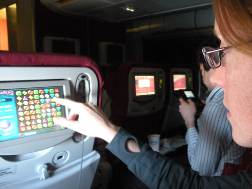 Playing Bejeweled on the plane