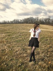 dance hall dance hall, everyday (bloomingleopold) Tags: winter red white black vintage nashville lace tights bow braids squaredance highwaist blackshorts laceupboots highwaistedshorts zodiacboots bloomingleopold