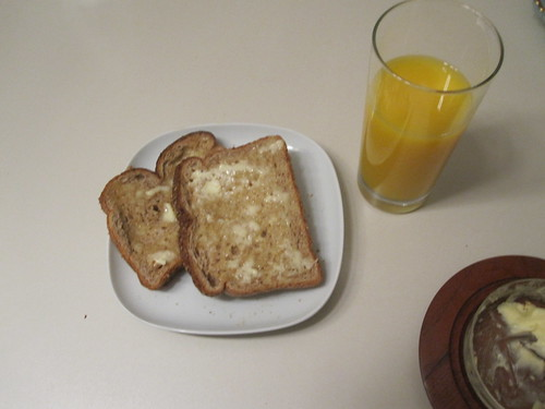 buttered toasts, OJ