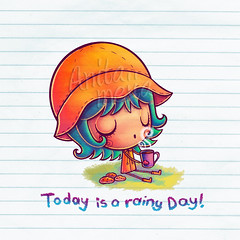 Today is a rainy Day!!! (Anita Mejia) Tags: cup coffee colors rain illustration clouds day coat rainy raindrops raincoat today anitamejia
