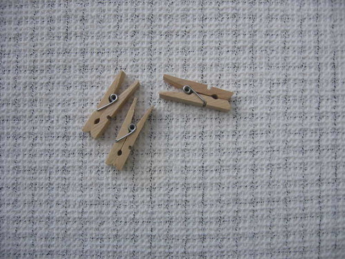 Three clothespins