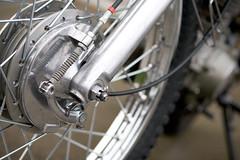 Brake Detail (mini/eng) Tags: detail bike sport honda project 1974 drum front dirt restore motorcycle restored brake dual completed complete enduro xl175 xl175k1