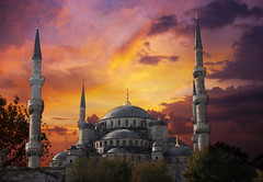 Sultan Ahmed , Blue Mosque ! (Saad Al-Enezi) Tags: trees sunset sky orange building history architecture clouds canon turkey golden interior istanbul mosque historical bluemosque turkish minarets islamic ottomanempire sultanahmedmosque 40d theunforgettablepictures istanbullovers colinmclurg samialenzi bluetilesadorning