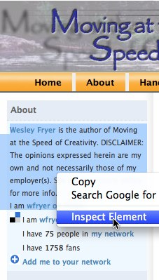 With Google Chrome, select page content and INSPECT ELEMENT