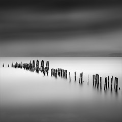 Candles Of The San Pablo Bay (maxxsmart) Tags: california longexposure winter storm rain clouds contrast canon pier blackwhite logs lee bayarea blownout 2010 sanpablobay ef2470f28l contracostacounty walkingintherain nd110 10stopnd 5dmarkii 9ndgrad ittookforevertofindbutidid waitingforthe70200