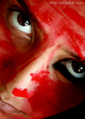 :) (Stuti ~) Tags: red portrait self eyes vermillion kohl kajal sindoor stutisakhalkar