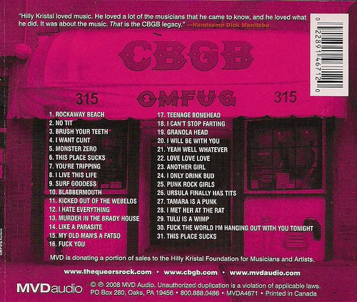 02/03/03 The Queers @ CBGB (CD Insert)
