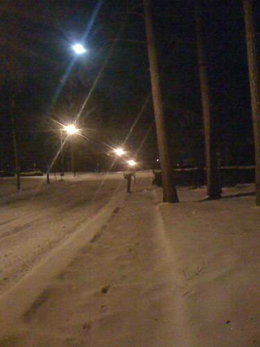 The street in front of my house. The top light is the moon.