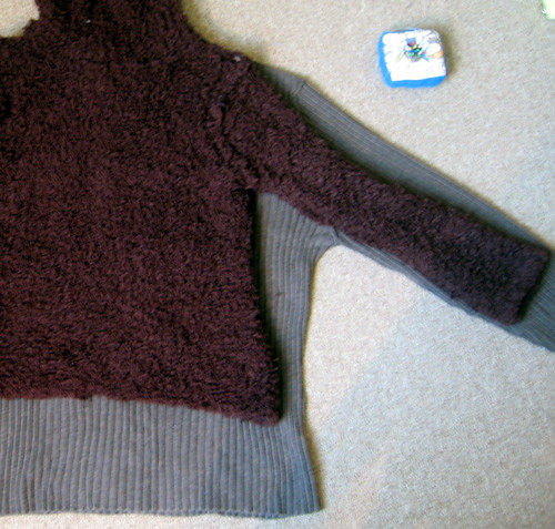 long brown sweater refashion (before)