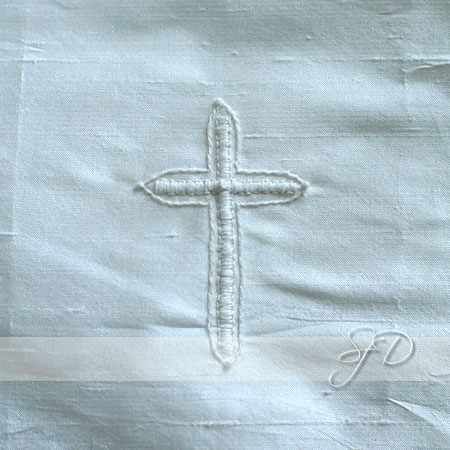 hand embroidered cross design