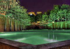 Fort Worth Water Gardens (todd landry photography) Tags: trees reflection green texas watergarden hdr fortworth flickraward hdratnight hdraward