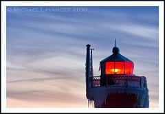 South Haven Lighthouse (Michael Lavander) Tags: winter lighthouse snow cold ice canon evening pier dusk michigan lakemichigan greatlakes blackriver southhaven 70200f28l canon40d february2010 michaellavander httpmlavcom 262010