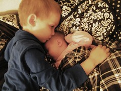Ethan && Alyssa (Britty McG) Tags: toddler kiss newborn andbaby