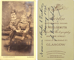 Norman and Archie S Dickins (Dickson?), January 1880, by Wohlgemuth, Glasgow