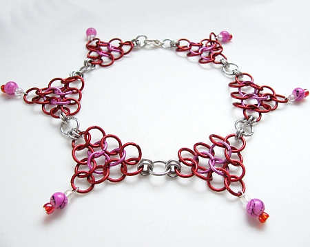 Red and Pink Chainmaille Anklet- Look of Love