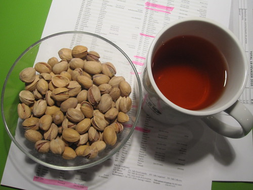 Pistachios and tea from the bistro