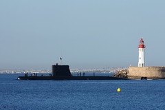Submarino de la Armada Española, saliendo de Almería. (Jose Luis Ogea) Tags: sea españa lighthouse canon faro mar spain mediterranean navy armada submarine almería submarino eos450d maditerráneo