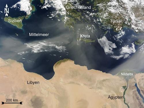 Staub über dem Mittelmeer
