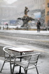 The Sound of Waiting (Federica Mu ) Tags: white snow man roma snowflakes 50mm waiting solitude f16 silence neve attesa piazzabarberini