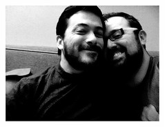 """Good Times...."" (Sion+Anton) Tags: nyc people blackandwhite bw selfportrait newyork love portraits self beard glasses us anton sion allrightsreserved goodtimes iphone gaylove gaycouple bothofus nomatterwhat iphoneography sionfullana iphone3gs editedanduploadedoniphone format126app werehappypeople dedicatedtoddwhobroughtonthesesmilesinthefirstplace"