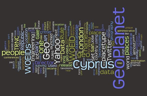 Playing with tag clouds: http://www.ygeoblog.com/
